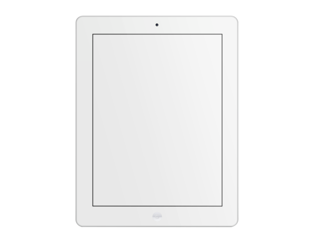 placeit tablet mockup of a white ipad over clear background