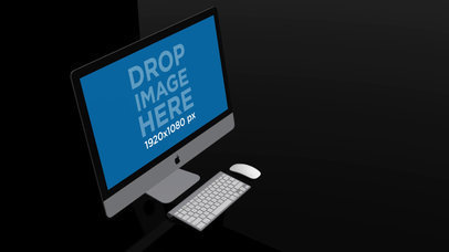 Video of an iMac Standing in a Black Room a15965
