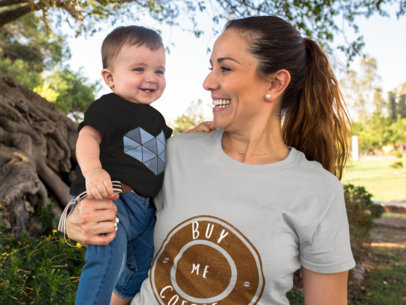 Baby Smiling with His Mom Wearing Different Round Neck T-Shirts Mockup Outdoors a16103