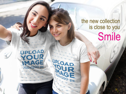 Facebook Ad - Two Girls Wearing T-Shirts Taking a Selfie a16249