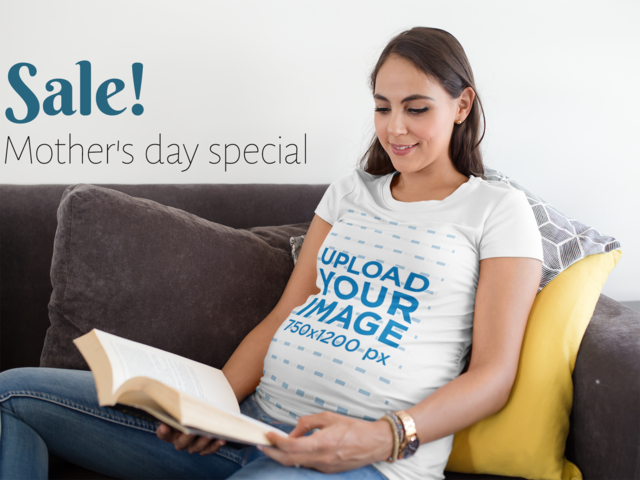 Placeit facebook ad pregnant mom reading wearing a t shirt for T shirt ads on facebook