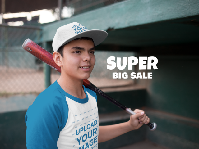Kid Wearing a Baseball Hat Mockup and Raglan T-Shirt While Holding a Bat 9731b0877c9