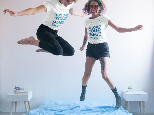 Placeit facebook ad two girls jumping on the bed for T shirt ads on facebook