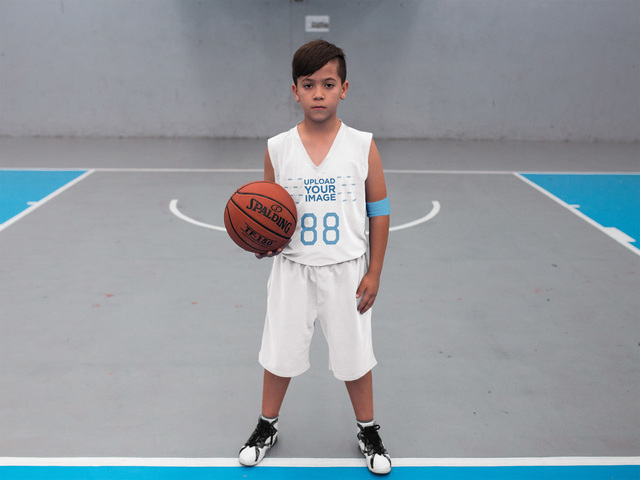 Placeit - Basketball Jersey Maker - Boy Looking at the Camera