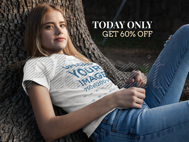 Placeit facebook ad pretty girl wearing t shirt while for T shirt ads on facebook