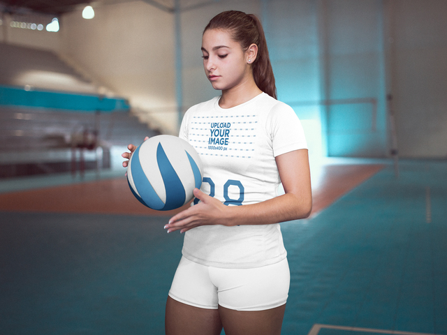 Placeit Volleyball Jersey Maker Girl At The Court