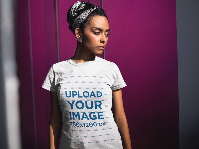 Placeit Pretty Woman Wearing A T Shirt Mockup While Near