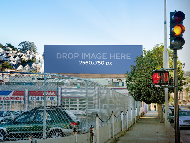 Billboard On A Parking Lot