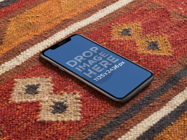 iPhone X Mockup Lying on a Red Carpet a17504