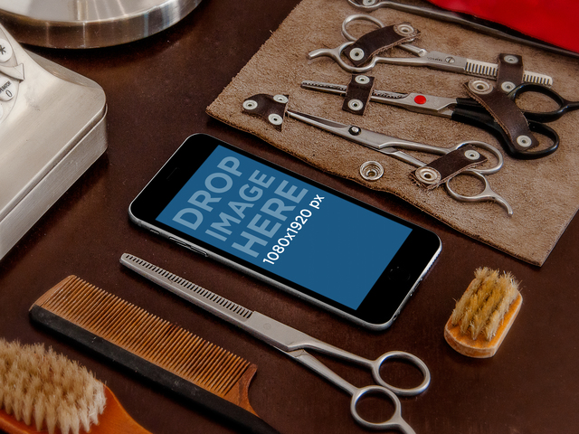 Product Mockup, iPhone 6 at a barber shop Placeit Stage Image