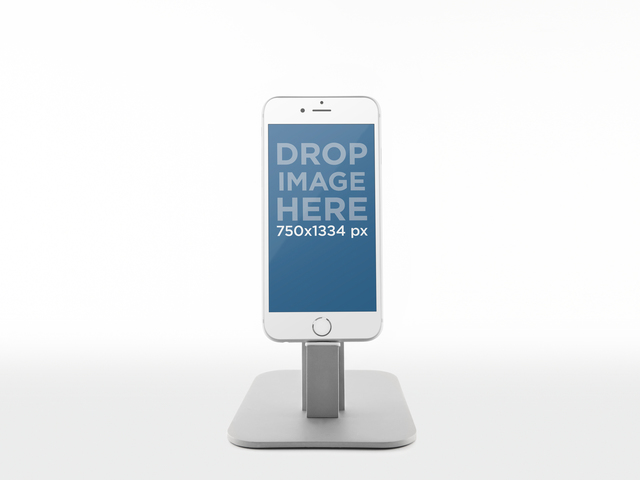Product Mockup Template, White iPhone 6 on a Metal Stand Placeit Stage Image