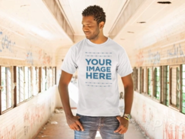 T-Shirt Video of a Young Black Man Standing in an Old Wagon a12778