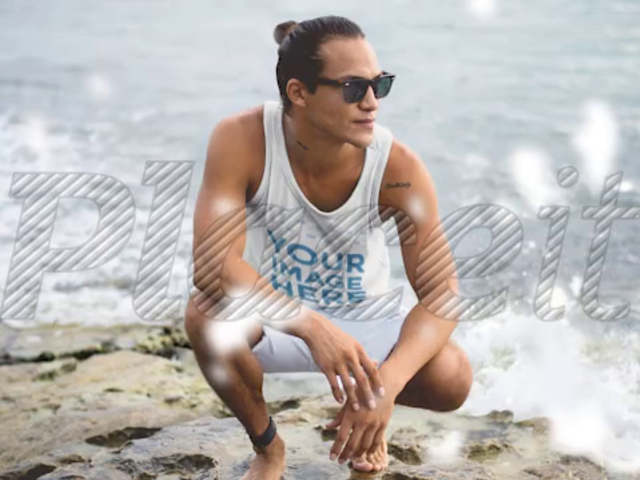 Surfer Dude Wearing a Tank Top Cinemagraph Mockup at a Rocky Shore a13754
