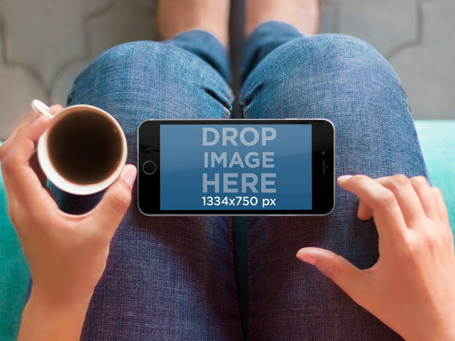 Mockup Template, iPhone 6 Resting on a Womans Lap Placeit Stage Image
