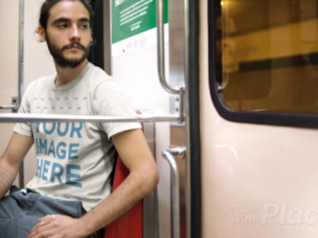Mockup Cinemagraph Featuring a Trendy Man On The Subway Wearing a Round Neck Tee a13370