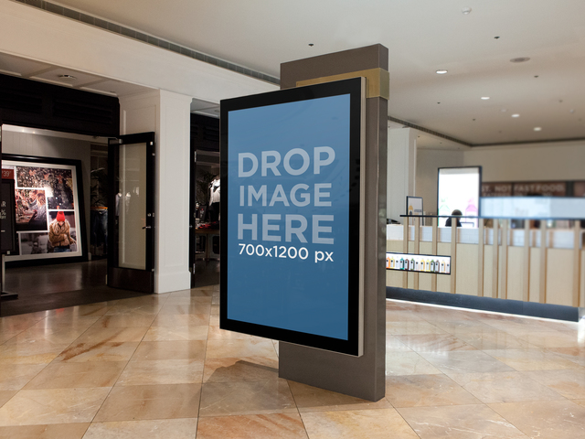 Square Ad On A Mall Screen