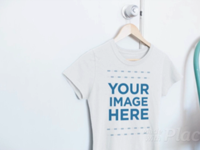 Round Neck Tshirt Video Mockup Hanging on a Closet Door in a Bedroom a13083