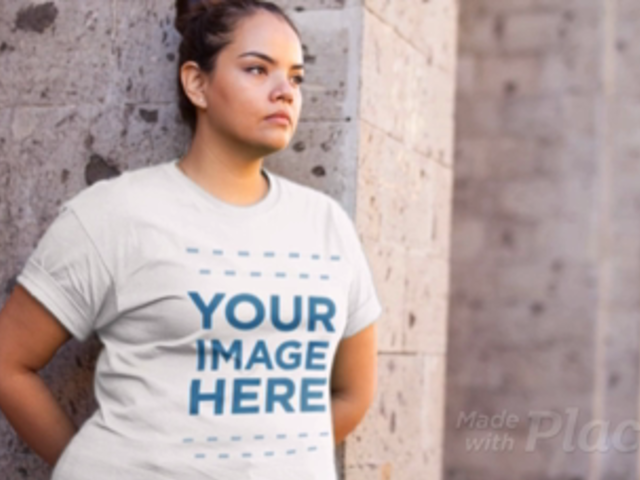 Woman Waiting for Someone on the Street Wearing a Plus Size T-Shirt Video Mockup a12524