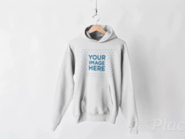 Pullover Hoodie Video on a Hanger Against White Background a13143