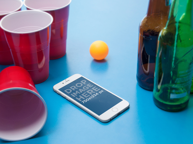 Product Mockup, iPhone 6 on a Ping Pong Table With Beers Placeit Stage Image