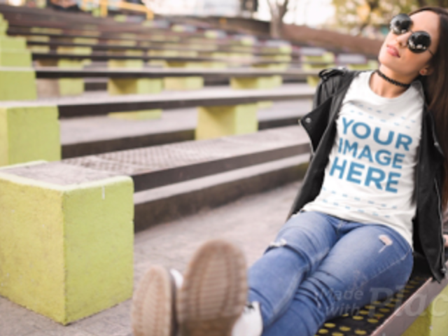 Girl Moving her Feet Wearing a T-Shirt Cinemagraph Mockup at an Urban Environment a13513