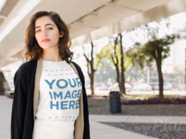 Beautiful Young Girl Wearing a Tshirt Cinemagraph Mockup Under a Bridge a13594