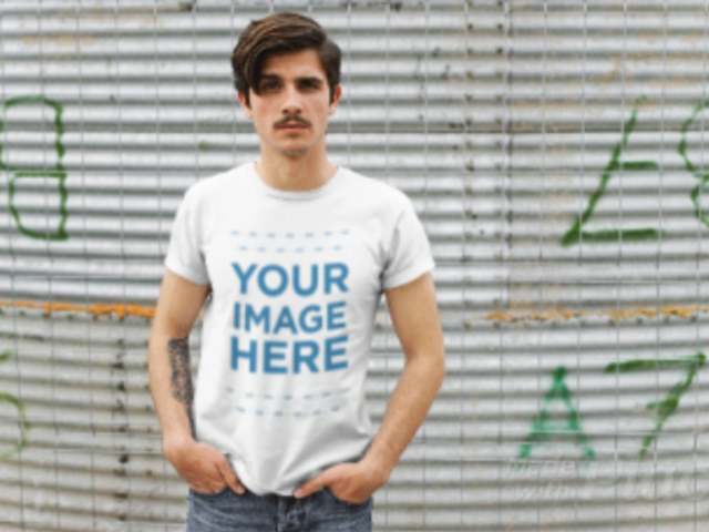 Young Hipster Man Wearing a T-Shirt Stop Motion Moving From Side to Side a13527