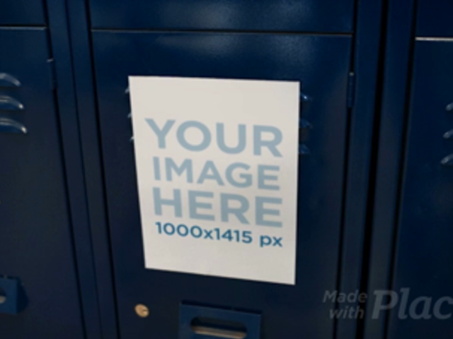 Video of a Flyer Glued to Blue Lockers a13977