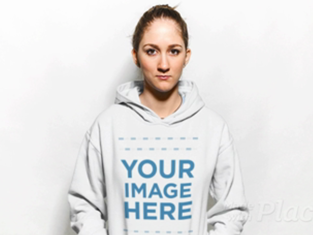 Blonde Girl Wearing a Hoodie in Stop Motion Against a White Background a13308