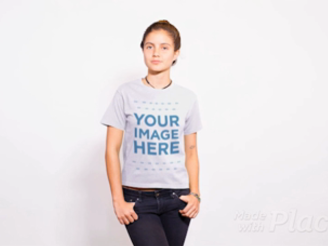 Girl Wearing a Round Neck Tshirt Stop Motion Standing Against a White Background a13756