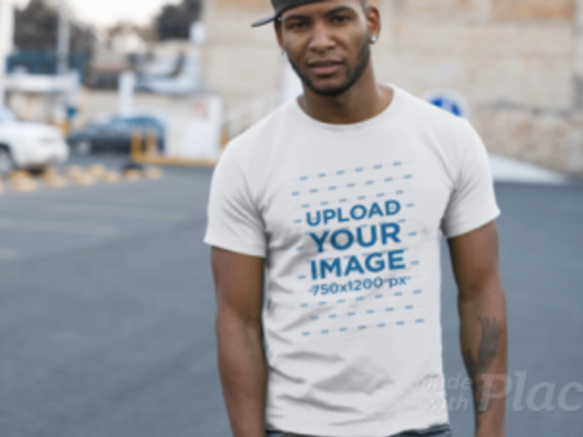 Black Man Wearing a T-Shirt Video at a Parking Lot a13509