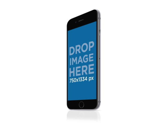 iPhone 6 PNG Mockup of Angled Black iPhone With Clear Background Placeit Stage Image