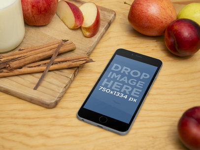iPhone 6 on Cooking Table Mockup Template