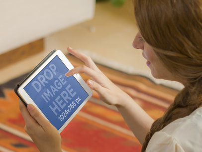 iPad Mockup Template of Girl on the Carpet