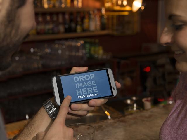 Couple Having Drinks at a Bar Android Mockup Generator