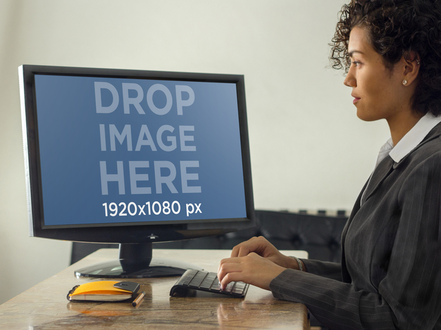 Mockup Template of Businesswoman Typing on Desktop PC