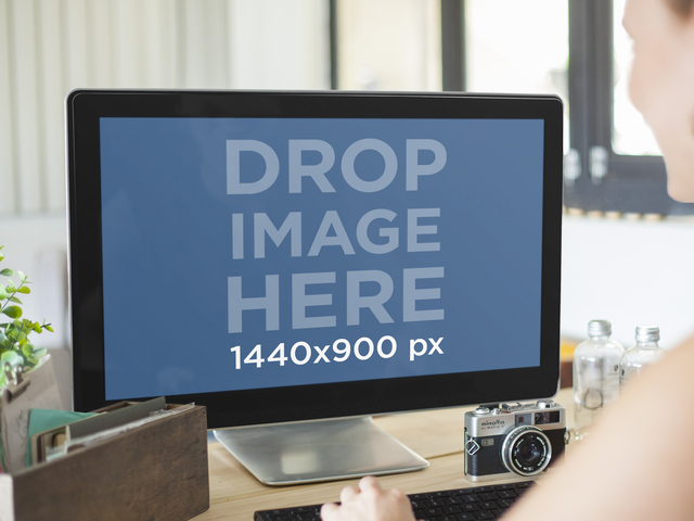 Desktop and laptop mockup generator placeit pc mockup template at creative office pronofoot35fo Gallery