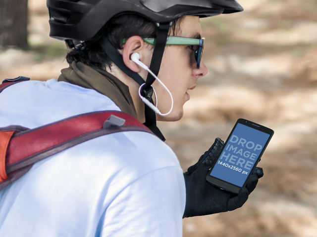 Mockup Template of Guy Using Android Phone While Biking