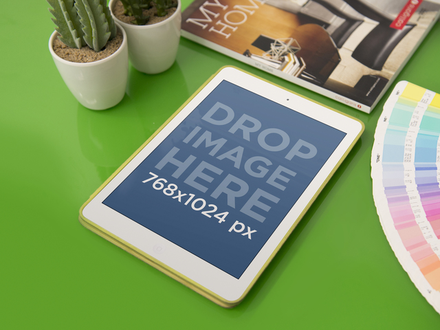 Mockup Template of iPad at Interior Design Studio