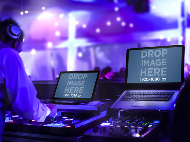 DJ Set With Macbook and Sony Vaio Mockup Template