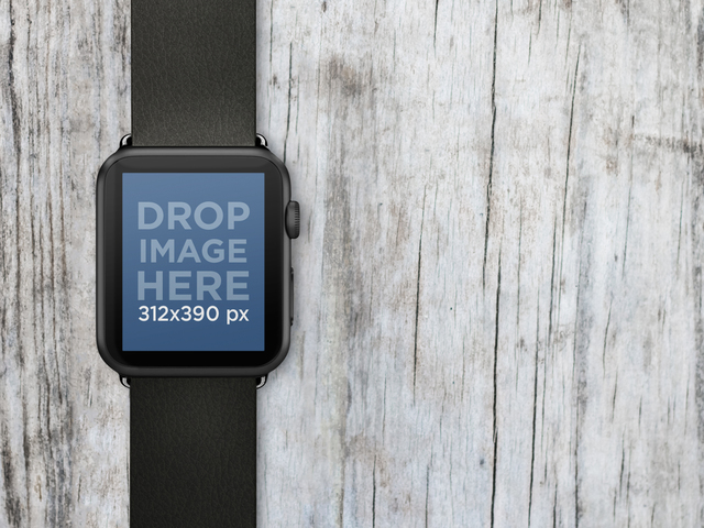 Black Apple Watch Over Wooden Surface Stock Photo Placeit Stage Image