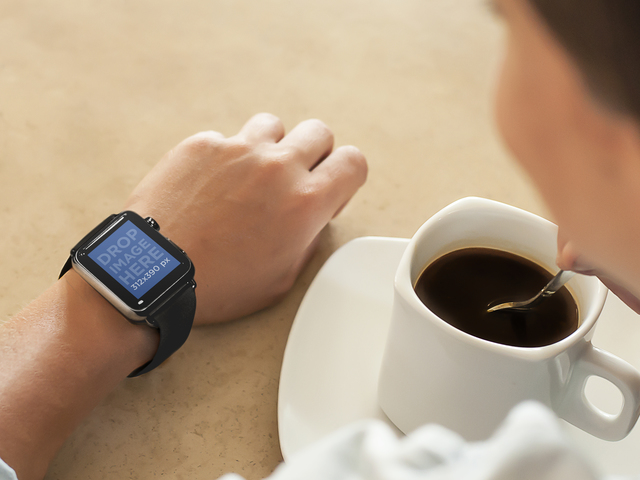 Young Lady on Coffee Break Wearing a Black Apple Watch Placeit Stage Image