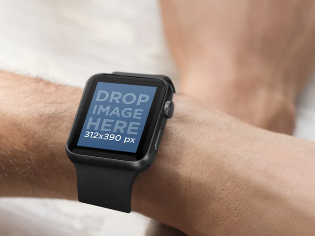 Crossed Male Hands Wearing a Black Apple Watch Mockup Template