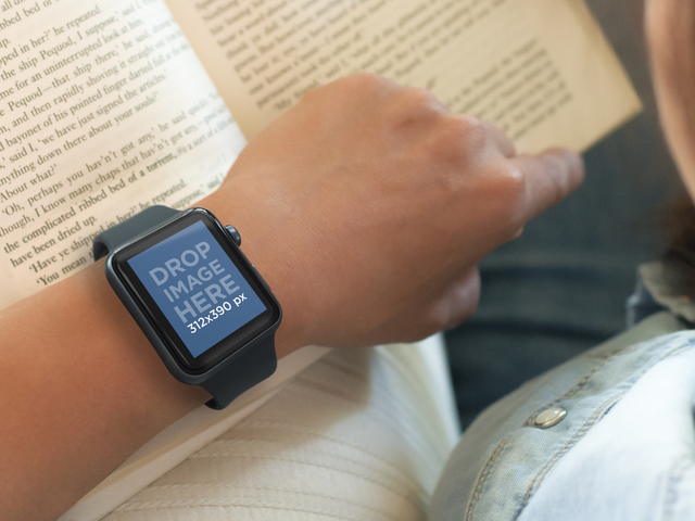 Woman Wearing an Apple Watch and Reading a Book Mockup Template Placeit Stage Image