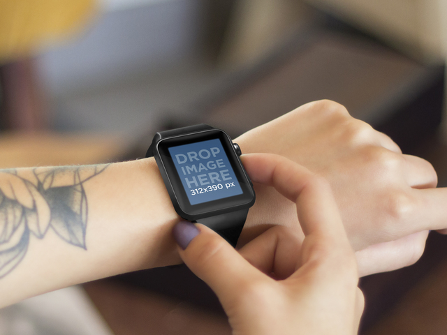Young Tattooed Woman Using her Black Apple Watch Placeit Stage Image