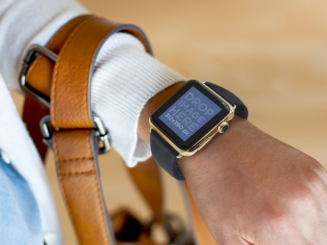 Young Woman Wearing a Apple Watch and a Handbag Mockup Tool Placeit Stage Image