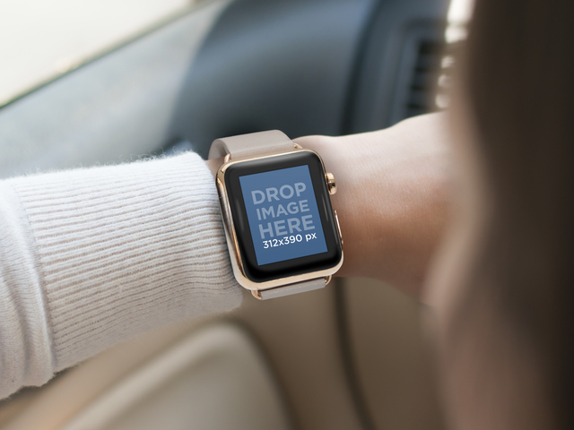 Woman Wearing a Gold and Beige Apple Watch While Driving a Vehicle Mockup