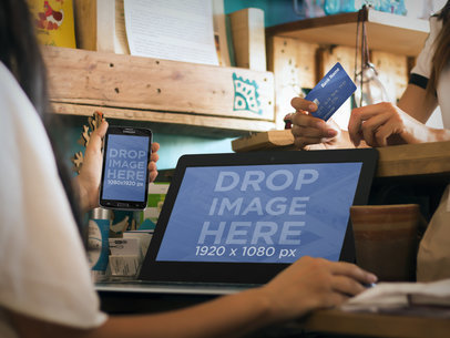 Mockup of Sale Transaction at Artsy Shop Featuring an Android and PC Laptop
