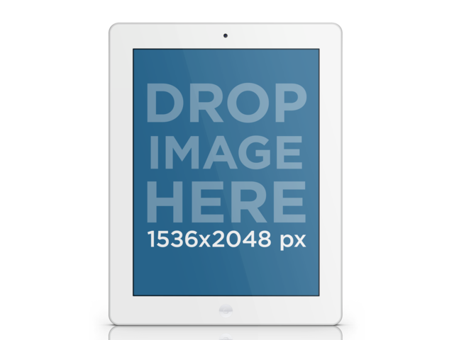 Tablet Mockup of a White iPad Over Clear Background