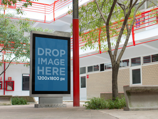 Mockup of a Billboard Standing in the Center of a University Patio a4653